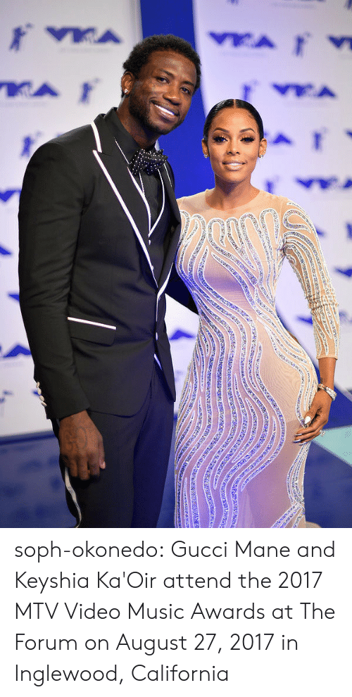Gucci, Gucci Mane, and Mtv: soph-okonedo:     Gucci Mane and Keyshia Ka'Oir   attend the 2017 MTV Video Music Awards at The Forum on August 27, 2017 in Inglewood, California