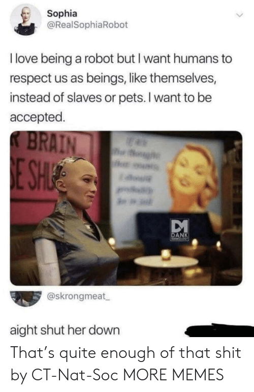 slaves: Sophia  @RealSophiaRobot  I love being a robot but I want humans to  respect us as beings, like themselves,  instead of slaves or pets. I want to be  accepted.  K BRAIN  og  E SHUE  DANK  @skrongmeat  aight shut her down That's quite enough of that shit by CT-Nat-Soc MORE MEMES
