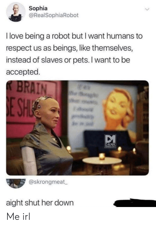 slaves: Sophia  @RealSophiaRobot  I love being a robot but I want humans  respect us as beings, like themselves,  instead of slaves or pets. I want to be  accepted  K BRAIN  h  E SH  a.  DANK  MINESS  @skrongmeat  aight shut her down Me irl