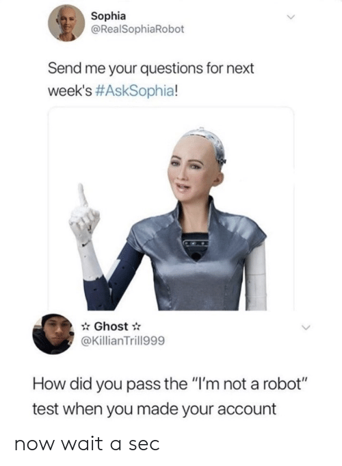 "A Sec: Sophia  @RealSophiaRobot  Send me your questions for next  week's #AskSophia!  Ghost  @KillianTrill999  How did you pass the ""I'm not a robot""  test when you made your account now wait a sec"