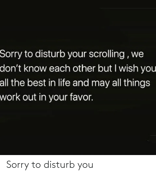 Life, Sorry, and Work: Sorry to disturb your scrolling , we  don't know each other but I wish you  all the best in life and may all things  work out in your favor. Sorry to disturb you