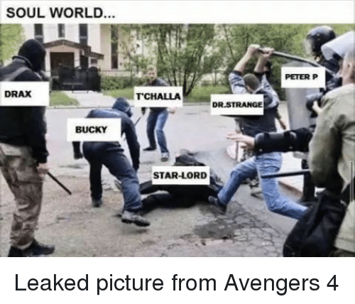 dr strange: SOUL WORLD...  PETER P  DRAX  TCHALLA  DR.STRANGE  BUCKY  STAR-LORD <p>Leaked picture from Avengers 4</p>