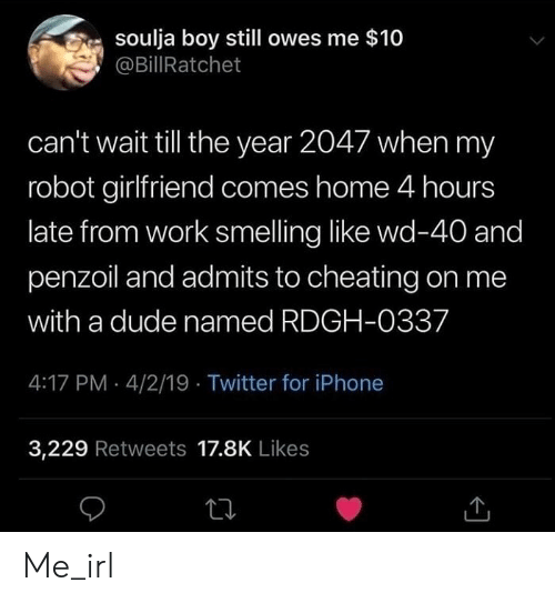 Cheating, Dude, and Iphone: soulja boy still owes me $10  @BillRatchet  can't wait till the year 2047 when my  robot girlfriend comes home 4 hours  late from work smelling like wd-40 and  penzoil and admits to cheating on me  with a dude named RDGH-0337  4:17 PM 4/2/19 Twitter for iPhone  3,229 Retweets 17.8K Likes Me_irl