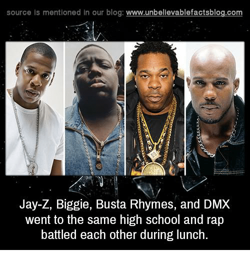 Busta Rhymes: source Is mentioned In our blog  www.unbelievablefactsblog.com  Jay-Z, Biggie, Busta Rhymes, and DMX  went to the same high school and rap  battled each other during lunch