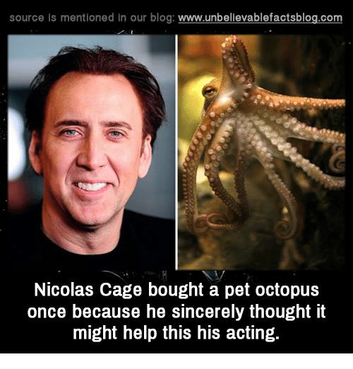 Nicolas Caged: source Is mentioned In our blog  www.unbelievablefactsblog.com  Nicolas Cage bought a pet octopus  once because he sincerely thought it  might help this his acting.