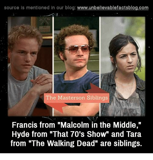 """Malcolm in the Middle: source Is mentioned In our blog  www.unbelievablefactsblog.com  The Masterson Siblings  Francis from """"Malcolm in the Middle,""""  Hyde from """"That 70's Show"""" and Tara  from """"The Walking Dead"""" are siblings."""