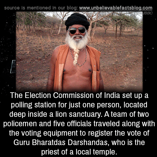 Equipment: source is mentioned in our blog: www.unbellevablefactsblog.com  BBC  The Election Commission of India set up a  polling station for just one person, located  deep inside a lion sanctuary. A team of two  policemen and five officials traveled along with  the voting equipment to register the vote of  Guru Bharatdas Darshandas, who is the  priest of a local temple.