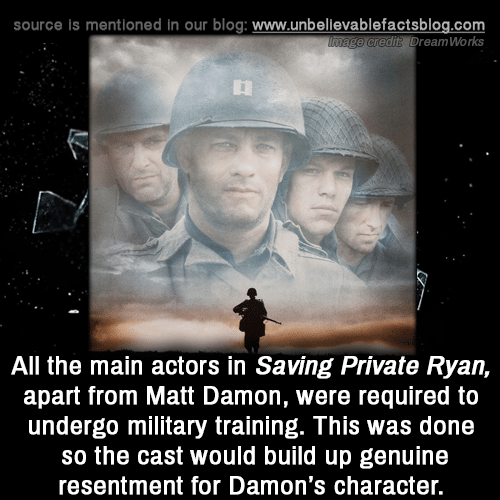 Matt Damon: source is mentioned in our blog: www.unbellevablefactsblog.com  e credit? DreamWorks  All the main actors in Saving Private Ryan,  apart from Matt Damon, were required to  undergo military training. This was done  so the cast would build up genuine  resentment for Damon's character.