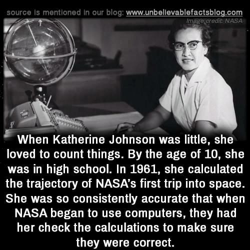 trajectory: source is mentioned in our blog: www.unbellevablefactsblog.com  Image credit NASA  When Katherine Johnson was little, she  loved to count things. By the age of 10, she  was in high school. In 1961, she calculated  the trajectory of NASA's first trip into space.  She was so consistently accurate that when  NASA began to use computers, they had  her check the calculations to make sure  they were correct.