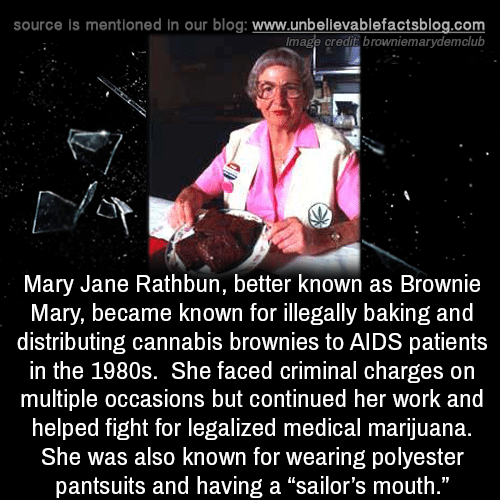 """Cannabis: source is mentioned in our blog: www.unbellevablefactsblog.com  lmage credit browniemarydemclub  Mary Jane Rathbun, better known as Brownie  Mary, became known for illegally baking and  distributing cannabis brownies to AIDS patients  in the 1980s. She faced criminal charges on  multiple occasions but continued her work and  helped fight for legalized medical marijuana.  She was also known for wearing polyester  pantsuits and having a """"sailor's mouth  ."""""""