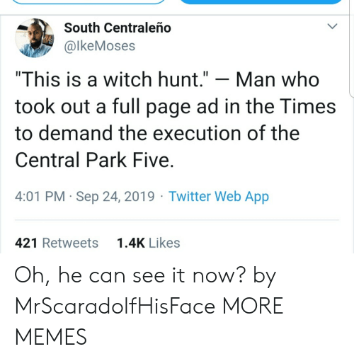 """Hunt: South Centraleño  @lkeMoses  """"This is a witch hunt.""""  Man who  took out a full page ad in the Times  to demand the execution of the  Central Park Five  4:01 PM Sep 24, 2019 Twitter Web App  1.4K Likes  421 Retweets Oh, he can see it now? by MrScaradolfHisFace MORE MEMES"""