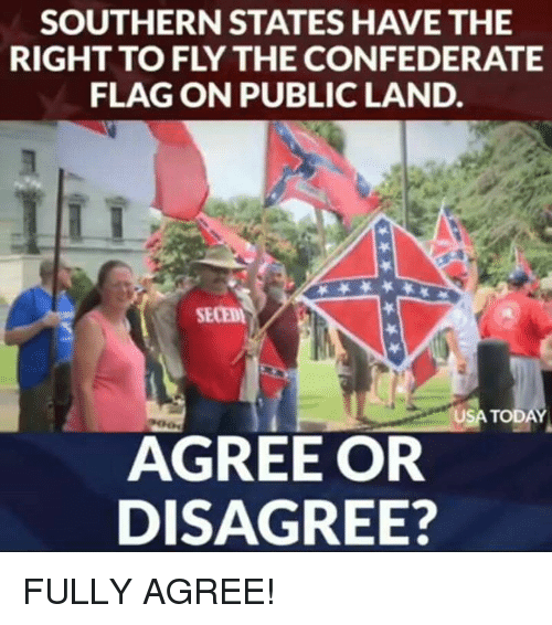 Confederate Flag, Memes, and Today: SOUTHERN STATES HAVE THE  RIGHT TO FLY THE CONFEDERATE  FLAG ON PUBLIC LAND.  SECED  USA TODAY  AGREE OR  DISAGREE? FULLY AGREE!