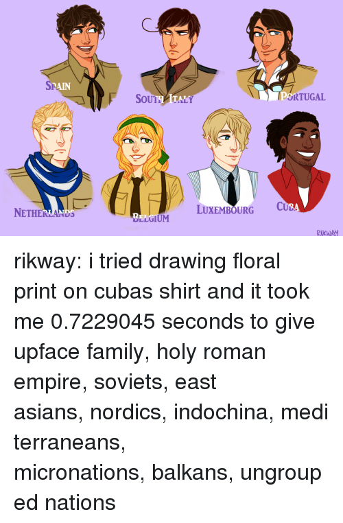 holy roman empire: SP  RAIN  SoUTHATALY  ORTUGAL  NETHERLANDS  LUXEMBOURG C  2  LLGIUM  RKWA rikway:  i tried drawing floral print on cubas shirt and it took me 0.7229045 seconds to give upface family,holy roman empire,soviets,east asians,nordics,indochina,mediterraneans,   micronations,balkans,ungrouped nations
