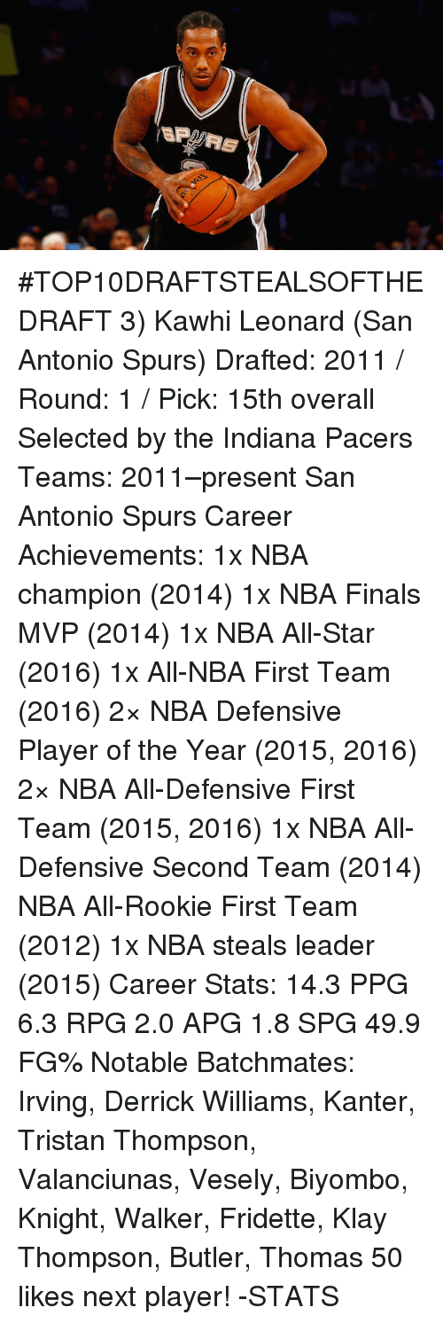 nba all star 2016: SP #TOP10DRAFTSTEALSOFTHEDRAFT  3) Kawhi Leonard (San Antonio Spurs)  Drafted:  2011 / Round: 1 / Pick: 15th overall Selected by the Indiana Pacers  Teams: 2011–present San Antonio Spurs  Career Achievements: 1x NBA champion (2014) 1x NBA Finals MVP (2014) 1x NBA All-Star (2016) 1x All-NBA First Team (2016) 2× NBA Defensive Player of the Year (2015, 2016) 2× NBA All-Defensive First Team (2015, 2016) 1x NBA All-Defensive Second Team (2014) NBA All-Rookie First Team (2012) 1x NBA steals leader (2015)  Career Stats: 14.3 PPG 6.3 RPG 2.0 APG 1.8 SPG 49.9 FG%  Notable Batchmates: Irving, Derrick Williams, Kanter, Tristan Thompson, Valanciunas, Vesely, Biyombo, Knight, Walker, Fridette, Klay Thompson, Butler, Thomas  50 likes next player!  -STATS