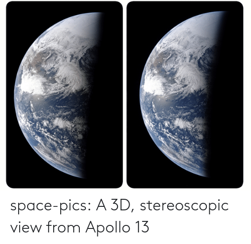 Apollo: space-pics:  A 3D, stereoscopic view from Apollo 13