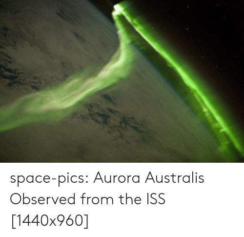 iss: space-pics:  Aurora Australis Observed from the ISS [1440x960]