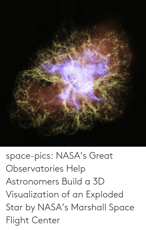 pics: space-pics:  NASA's Great Observatories Help Astronomers Build a 3D Visualization of an Exploded Star by NASA's Marshall Space Flight Center