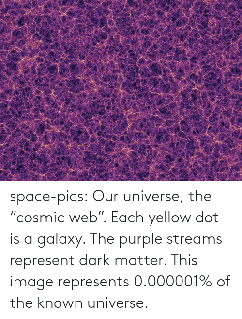 "Purple: space-pics:  Our universe, the ""cosmic web"". Each yellow dot is a galaxy. The purple streams represent dark matter. This image represents 0.000001% of the known universe."