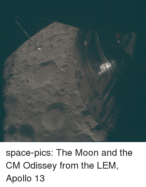 Apollo: space-pics:  The Moon and the CM Odissey from the LEM, Apollo 13