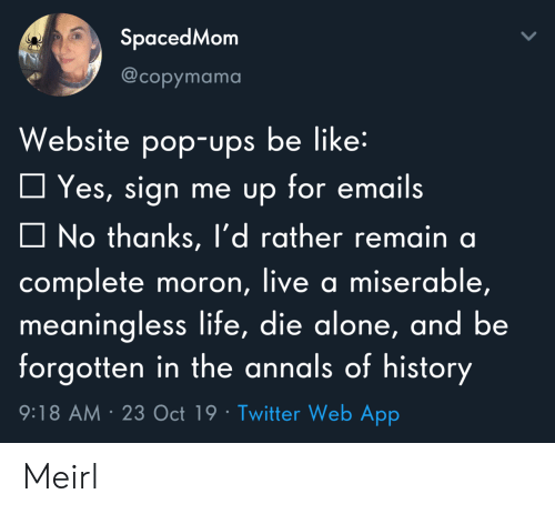 Die Alone: SpacedMom  @copymama  Website pop-ups be like:  Yes, sign me up for emails  No thanks, l'd rather remain a  complete moron, live a miserable,  meaningless life, die alone, and be  forgotten in the annals of history  9:18 AM 23 Oct 19 Twitter Web App Meirl