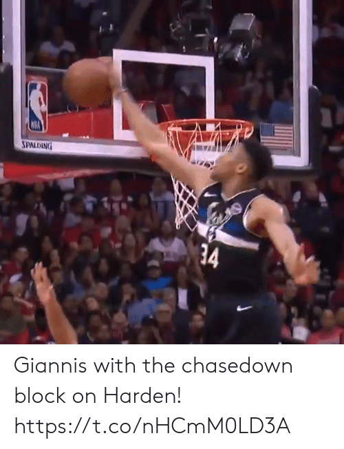 spalding: SPALDING  34 Giannis with the chasedown block on Harden! https://t.co/nHCmM0LD3A