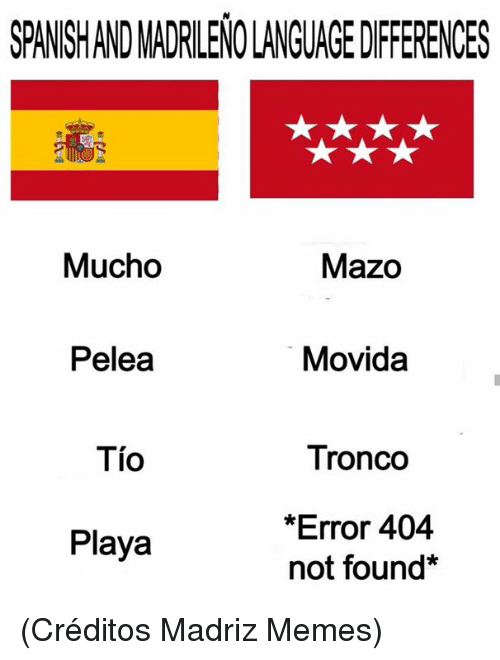 Memes, 🤖, and Language: SPANSHAND MADRILENO LANGUAGE DIFFERENCES  Mucho  Mazo  Pelea  Movida  Tio  Tronco  *Error 404  not found*  Playa (Créditos Madriz Memes)