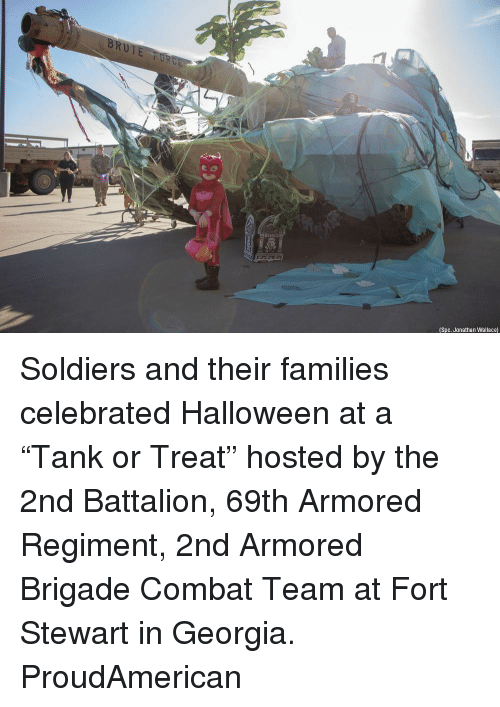 """Halloween, Memes, and Soldiers: (Spc. Jonathan Wallace) Soldiers and their families celebrated Halloween at a """"Tank or Treat"""" hosted by the 2nd Battalion, 69th Armored Regiment, 2nd Armored Brigade Combat Team at Fort Stewart in Georgia. ProudAmerican"""