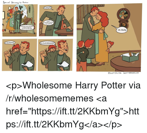 """Arthur, Harry Potter, and Molly: Special Delivery for Arthur  A parcel  I don't  remember sending  for anything  Welcome home darling.  A parcel came for  you, it's on the table  Oh Molly  clockhand?  A CLOCKHAND  @SCOTT.MILTON  SCO TT BRAZEE.COM <p>Wholesome Harry Potter via /r/wholesomememes <a href=""""https://ift.tt/2KKbmYg"""">https://ift.tt/2KKbmYg</a></p>"""