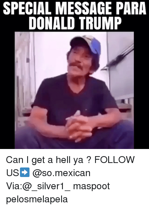 Donald Trump, Memes, and Trump: SPECIAL MESSAGE PARA  DONALD TRUMP Can I get a hell ya ? FOLLOW US➡️ @so.mexican Via:@_silver1_ maspoot pelosmelapela