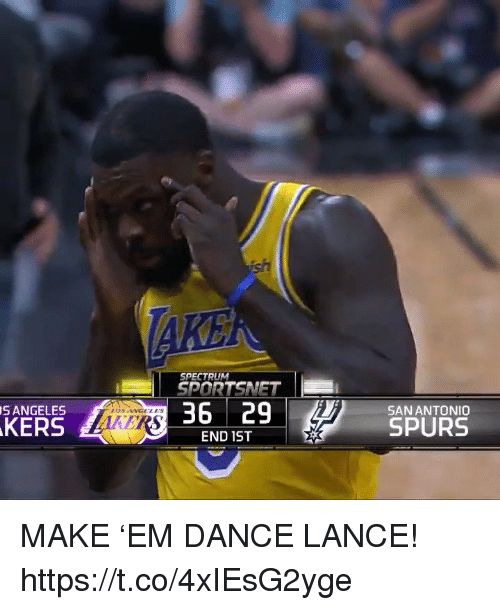 Memes, Angels, and San Antonio: SPECTRUM  SPORTSNET  36 | 29  S ANGELES  SAN ANTONIO  LOS ANGELS  KERS  LOT  SPURS  END 1ST MAKE 'EM DANCE LANCE!  https://t.co/4xIEsG2yge