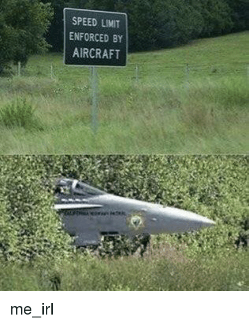 Irl, Me IRL, and Speed: SPEED LIMIT  ENFORCED BY  AIRCRAFT me_irl