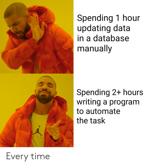 Time, Data, and Database: Spending 1 hour  updating data  in a database  manually  Spending 2+ hours  writing a program  to automate  the task Every time