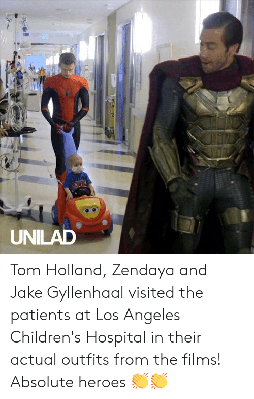 Children's Hospital: SPIDE  UNILAD Tom Holland, Zendaya and Jake Gyllenhaal visited the patients at Los Angeles Children's Hospital in their actual outfits from the films! Absolute heroes 👏👏