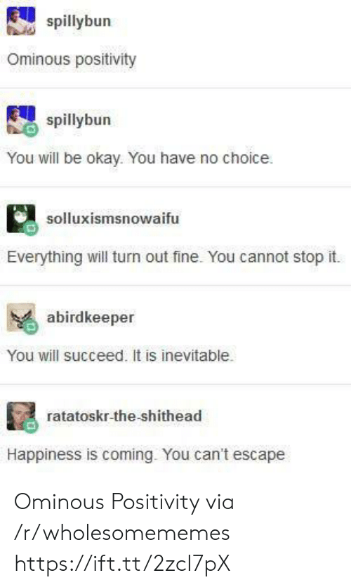 stop it: spillybun  Ominous positivity  spillybun  You will be okay. You have no choice  solluxismsnowaifu  Everything will turn out fine. You cannot stop it.  abirdkeeper  You will succeed. It is inevitable.  ratatoskr-the-shithead  Happiness is coming. You can't escape Ominous Positivity via /r/wholesomememes https://ift.tt/2zcI7pX