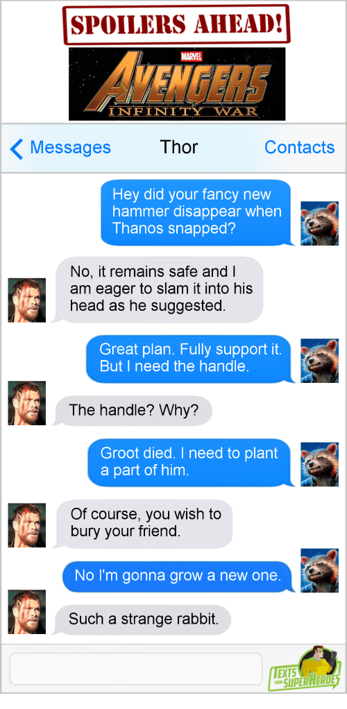 I Need The: SPOILERS AHEAD!  VENGERS  MARVEL  INFINITY WAR  Messages  Thor  Contacts  Hey did your fancy new  hammer disappear when  Thanos snapped?  No, it remains safe and l  am eager to slam it into his  head as he suggested.  Great plan. Fully support it.  But I need the handle  The handle? Why?  Groot died. I need to plant  a part of him  Of course, you wish to  bury your friend.  No I'm gonna grow a new one  Such a strange rabbit  EXTS  SUPERAEROE