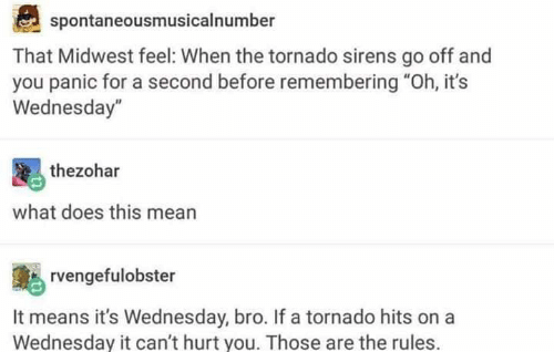 "Memes, Mean, and Tornado: spontaneousmusicalnumber  That Midwest feel: When the tornado sirens go off and  you panic for a second before remembering ""Oh, it's  Wednesday""  thezohar  what does this mean  rvengefulobster  It means it's Wednesday, bro. If a tornado hits on a  Wednesday it can't hurt you. Those are the rules."