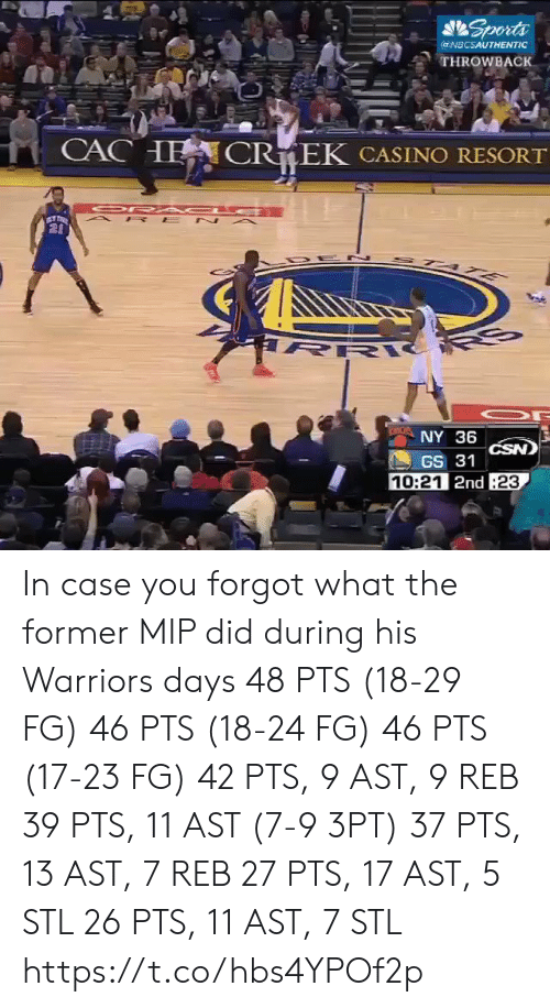 a&p: Sports  @NBCSAUTHENTIC  THROWBACK  CACHE  CR EK CASINO RESORT  OR A C E  A P E N A  20  STA E  R  NY 36  CSN)  GS 31  10:21 2nd 23 In case you forgot what the former MIP did during his Warriors days   48 PTS (18-29 FG) 46 PTS (18-24 FG) 46 PTS (17-23 FG) 42 PTS, 9 AST, 9 REB 39 PTS, 11 AST (7-9 3PT) 37 PTS, 13 AST, 7 REB 27 PTS, 17 AST, 5 STL 26 PTS, 11 AST, 7 STL https://t.co/hbs4YPOf2p