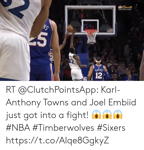 Karl-Anthony Towns: Sports  PHILADELPHIA  NS  HARRIS  12  5 RT @ClutchPointsApp: Karl-Anthony Towns and Joel Embiid just got into a fight! 😱😱😱  #NBA #Timberwolves #Sixers https://t.co/Alqe8GgkyZ