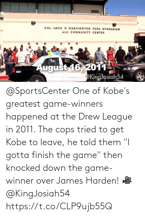 """Game Winner: @SportsCenter One of Kobe's greatest game-winners happened at the Drew League in 2011.   The cops tried to get Kobe to leave, he told them """"I gotta finish the game"""" then knocked down the game-winner over James Harden!   🎥 @KingJosiah54  https://t.co/CLP9ujb55Q"""