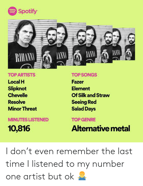 fazer: Spotify  LANA  ANM  IANNA  RIHANM  TOP ARTISTS  TOP SONGS  Local H  Fazer  Slipknot  Chevelle  Element  Of Silk and Straw  Seeing Red  Salad Days  Resolve  Minor Threat  MINUTES LISTENED  TOP GENRE  10,816  Alternative metal I don't even remember the last time I listened to my number one artist but ok 🤷♂️