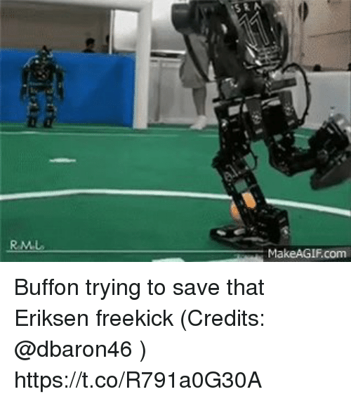 Memes, 🤖, and Com: SRA  MakeAGIF.com Buffon trying to save that Eriksen freekick (Credits: @dbaron46 )  https://t.co/R791a0G30A