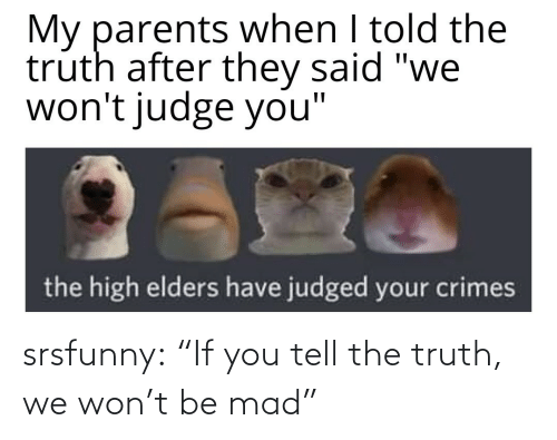 """If You: srsfunny:  """"If you tell the truth, we won't be mad"""""""