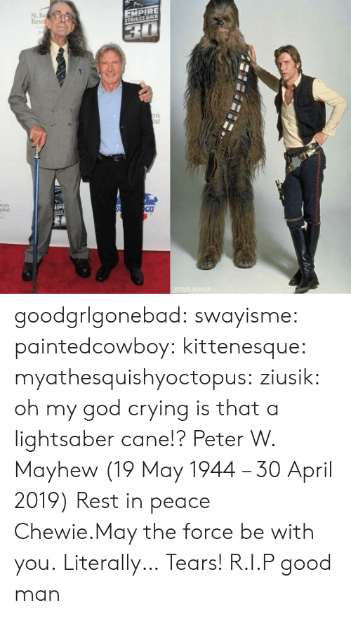 April: St. Ju  Resc  EMPIRE  ns  al  ipi  OD goodgrlgonebad:  swayisme:  paintedcowboy:  kittenesque: myathesquishyoctopus:  ziusik:  oh my god  crying  is that a lightsaber cane!?    Peter W. Mayhew (19 May 1944 – 30 April 2019)  Rest in peace Chewie.May the force be with you.  Literally… Tears!  R.I.P good man
