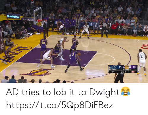 dwight: ST5S  NBA.com/LeaguePass  LAKERS.COM  23  FAZL 15 ZAKERS 18  1ST  2:32  :10 AD tries to lob it to Dwight😂 https://t.co/5Qp8DiFBez