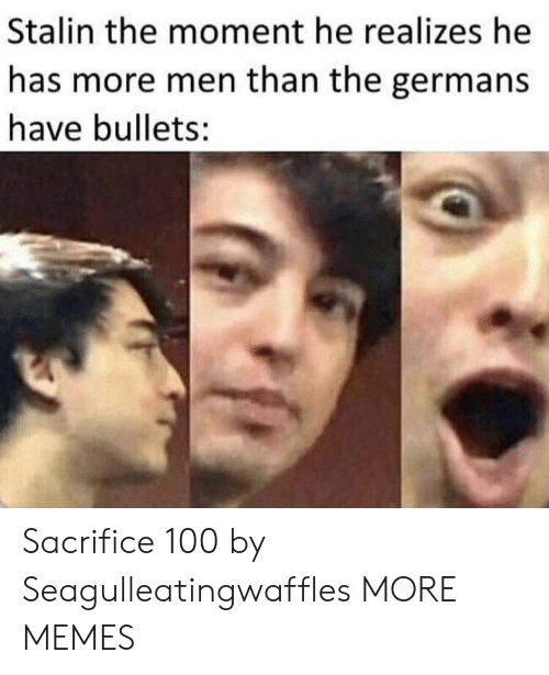 Dank, Memes, and Target: Stalin the moment he realizes he  has more men than the germans  have bullets: Sacrifice 100 by Seagulleatingwaffles MORE MEMES