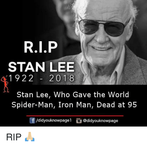 Iron Man, Memes, and Spider: STAN LEE  1922201 8  Stan Lee, Who Gave the World  Spider-Man, Iron Man, Dead at 95  didyouknowpagel。@didyouknowpage  团 RIP 🙏🏼