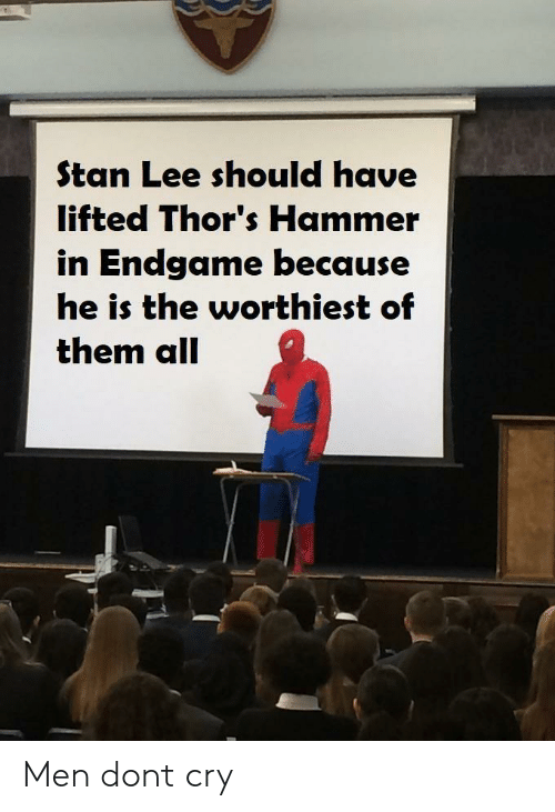 Lifted: Stan Lee should have  lifted Thor's Hammer  in Endgame because  he is the worthiest of  them all Men dont cry