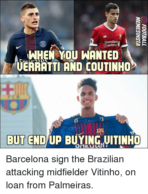 Barcelona, Memes, and Brazilian: Standard  Chartered  WHEN YOU WANTED  UERAATTI AND COUTINHO  BUT  KU Barcelona sign the Brazilian attacking midfielder Vitinho, on loan from Palmeiras.