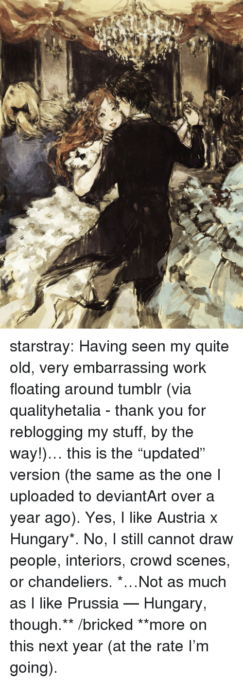 """Target, Tumblr, and Work: starstray:  Having seen my quite old, very embarrassing work floating around tumblr (via qualityhetalia - thank you for reblogging my stuff, by the way!)… this is the """"updated"""" version (the same as the one I uploaded to deviantArt over a year ago). Yes, I like Austria x Hungary*. No, I still cannot draw people, interiors, crowd scenes, or chandeliers. *…Not as much as I like Prussia — Hungary, though.** /bricked **more on this next year (at the rate I'm going)."""