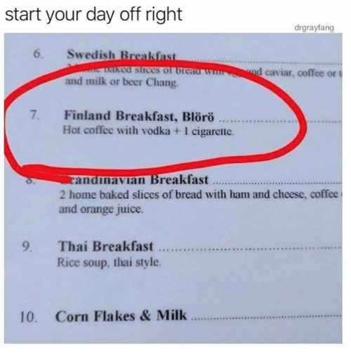 Baked, Beer, and Dank: start your day off right  6. Swedish Breakfast  and milk or beer Chang.  drgrayfang  cd slices of brca  nd caviar, coffee ort  7. Finland Breakfast, Blöro  Hot coffee with vodka +1 cigarctte.  randnavian Breakfast...  2 home baked slices of bread with ham and cheese, coffee  and orange juice.  9. Thai Breaksfat t....  Rice soup, thai style.  10. Corn Flakes & Milk